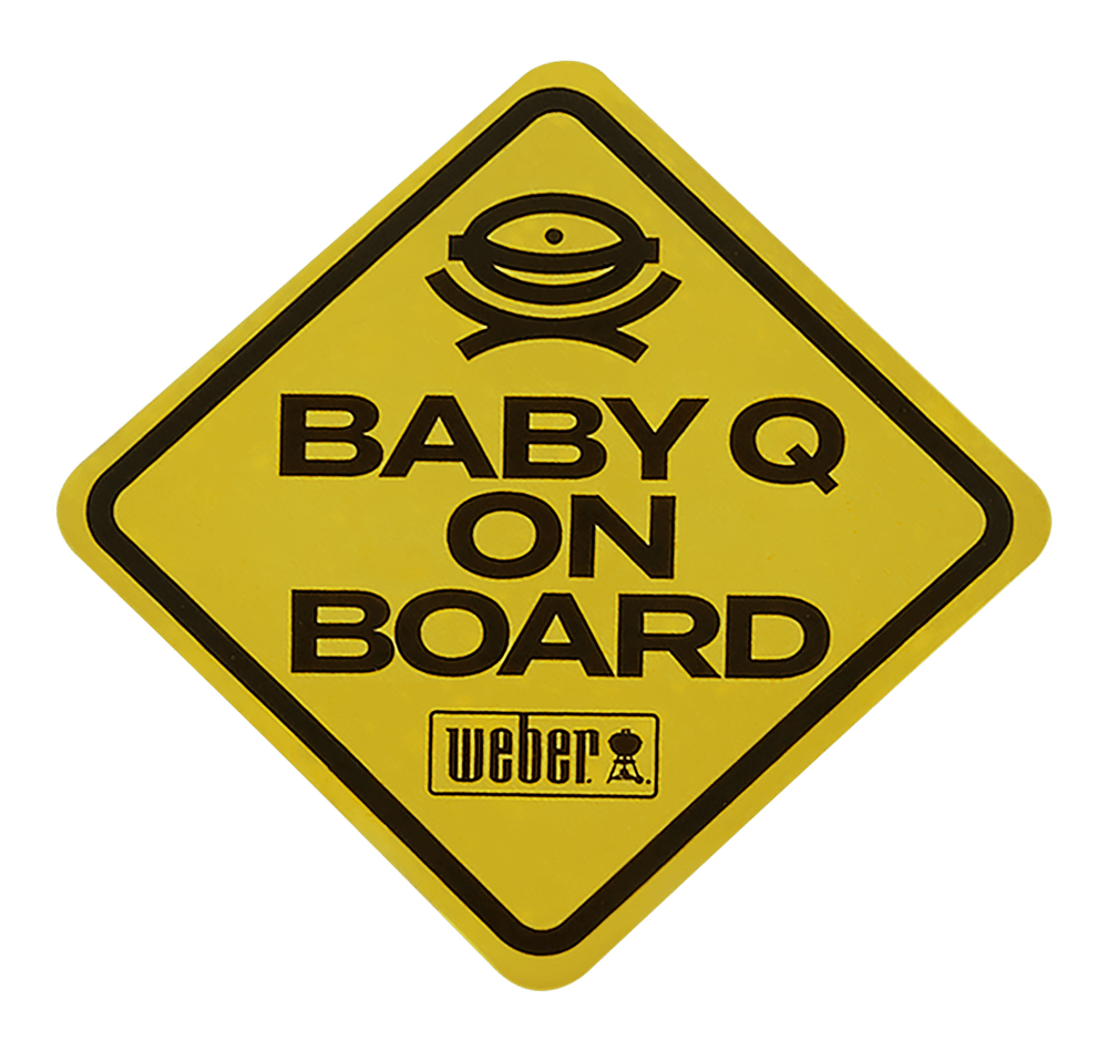 """Limited Edition Weber """"Baby Q on Board"""" Car Decal View"""